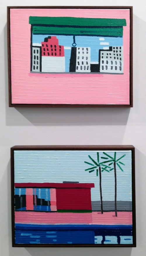 """Guy Yanai. """"The Window (After P.G.),"""" 2014, and """"House,"""" 2014, both works oil on linen. (Ameringer 