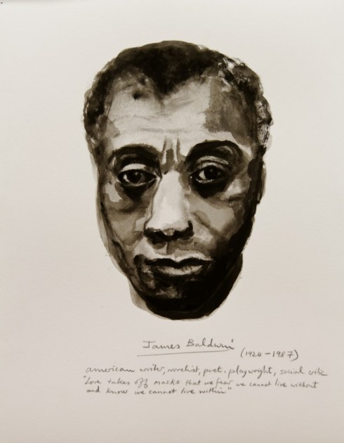 """Marlene Dumas. Detail from """"Great Men"""" (James Baldwin), 2014, ink and pencil on paper"""
