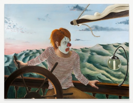 "Sean Landers. ""Around the World Alone (Boy Skipper - Dawn),"" 2011, oil on linen, 52h x 68w in."