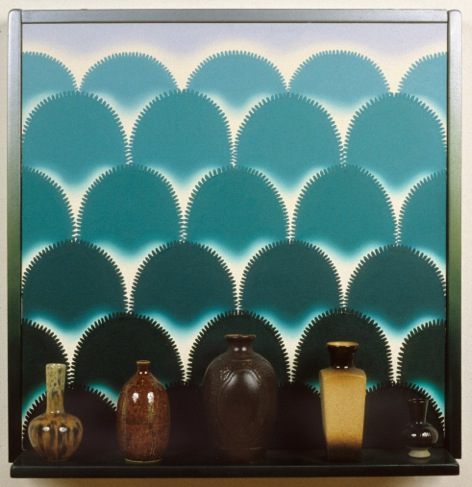 """Roger Brown. """"VSL # 8: Vases with a View,"""" 1995, oil on canvas, mixed media"""