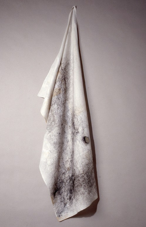 """Anne Wilson. """"Mourning Cloth (drape),"""" 1992-93 hair, thread, reconstructed cloth"""