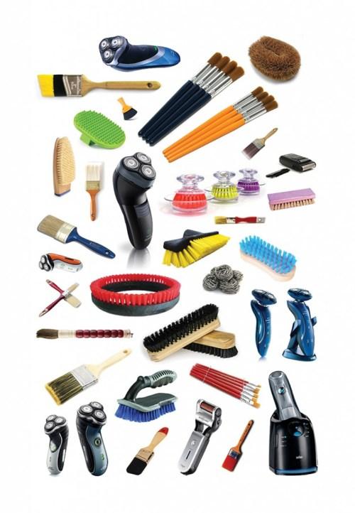 """Jeff Gibson. """"Untitled (brushes, brushes, shavers)"""" 2014"""