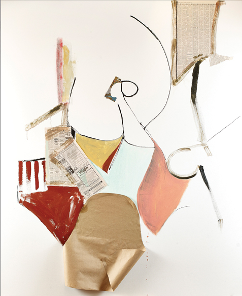 "Ben Herr. ""Brücke Zum Übermensch,"" 2013 oil, newspaper, graphite and collage on canvas,  60"" x 48"""