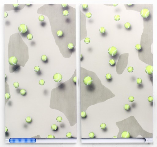 """Josh Reames. """"Infinite Scroll (#1)"""" and """"Infinite Scroll (#2),"""" both 2014, acrylic on canvas"""