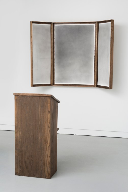 "Nate Young. Installation view of ""Untitled (Pulpit No. 1),"" 2014, and ""Untitled (Altar No. 1),"" 2015"