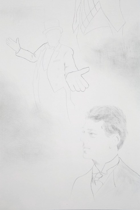 "C. C. Ann Chen. ""The Ringmaster,"" detail view, silverpoint on panel"