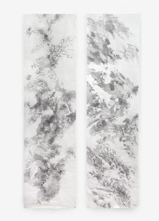 "Mariana Sissia. ""Mental Landscape #1,"" 2015 graphite on rice paper 98.5"" x 27"" each"