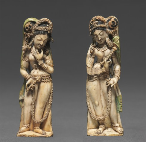 """A Pair of Female Attendants,"" Kashmir, Eighth Century, ivory, from the collection of the Cleveland Museum of Art"