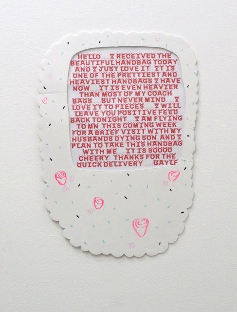"""Maddie Reyna. """"From Gayle,"""" 2014  marker and oil on foam core with inkjet print, 24"""" x 17"""""""
