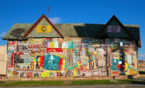 Olayami Dabls, N'Kisi House, 2007, wood, glass, tile, bricks, paint, MBAD African Bead Museum in Detroit, MI. Photo credit: Charlene Uresy