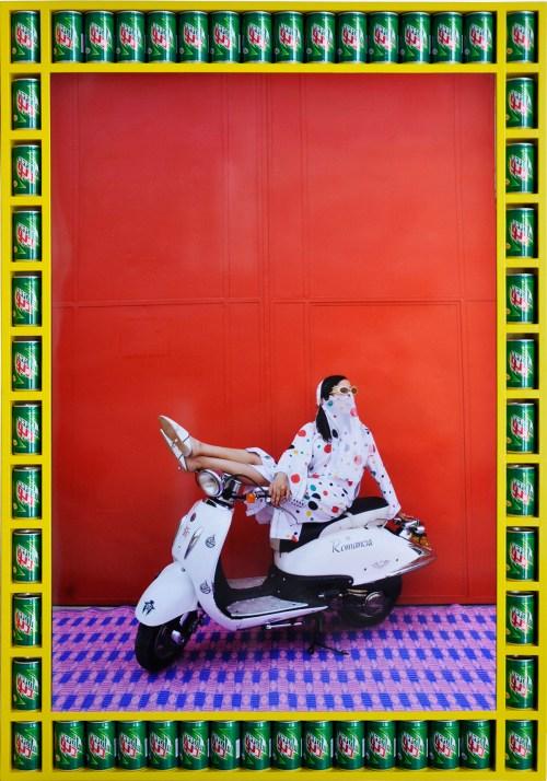 "Hassan Hajjaj. ""Miriam,"" 2010. Metallic lambda print on 3mm white dibond, 53 x 36 ¾ inches / Image courtesy of the artist and Monique Meloche Gallery, Chicago."