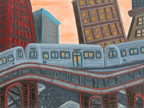 """Kevin Swallow. """"Transit Skyline,"""" 2014. Oil on panel, 18 x 24 inches."""