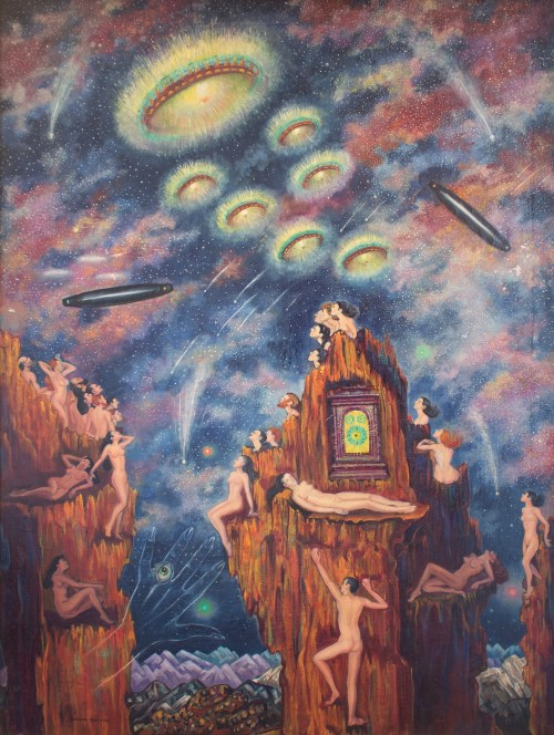 """Macena Barton (1901-1986). """"Flying Saucers."""" Oil on canvas, 40 x 30 inches."""