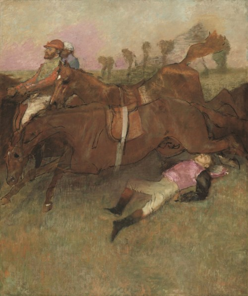 """Edgar Degas. """"Scene from the Steeplechase: The Fallen Jockey,"""" 1866, reworked 1880-1881 and c. 1897. National Gallery of Art, Washington, Collection of Mr. and Mrs. Paul Mellon."""