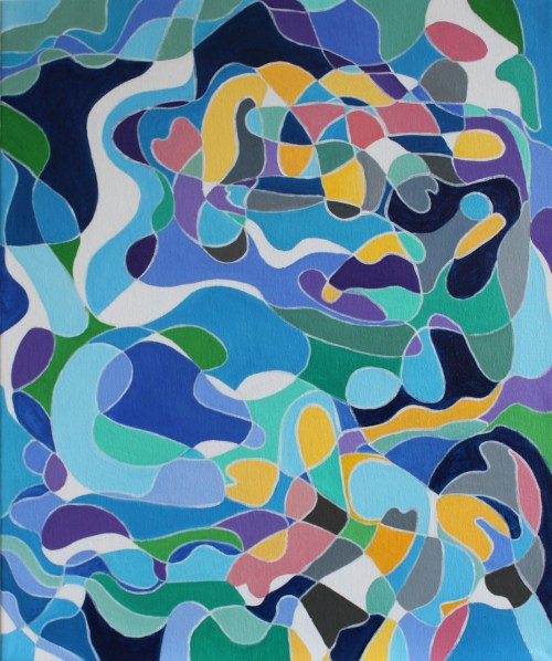 """Yvette Weijergang. """"Fish in a Pond."""" Acrylic on canvas. 20 x 24 inches."""
