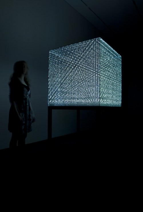 "Antony Gormley, After an idea by Gabriel Mitchel, ""Infinite Cube,"" 2014. Mirrored glass with internal copper wire matrix of 1,000 hand-soldered omnidirectional LED lights."