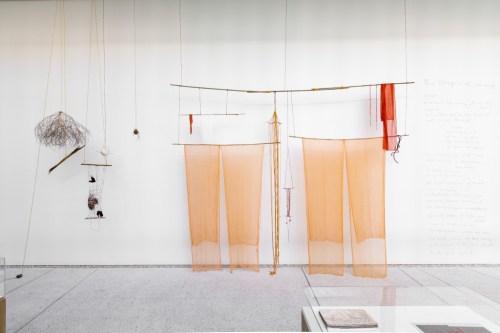 "Cecelia Vicuña. ""The Origin of Weaving,"" 2015. Mixed Media."