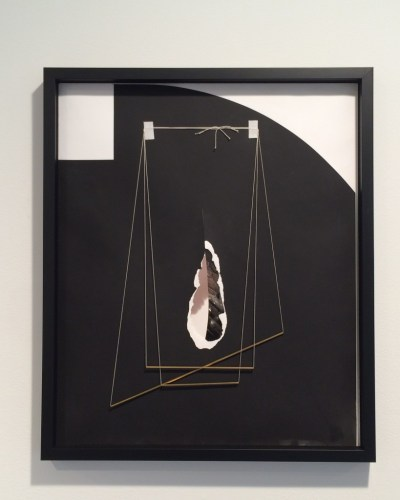 "Sheree Hovsepian. ""Muse Music, 2015. Silver gelatin photograms, tape, string, brass, 24 x 20 inches."