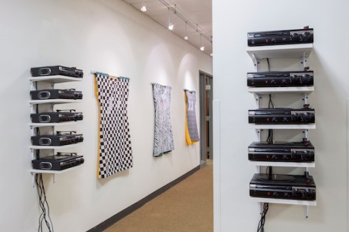"Installation view of ""I IN THE SKY"" at the Harold Washington College President's Gallery."