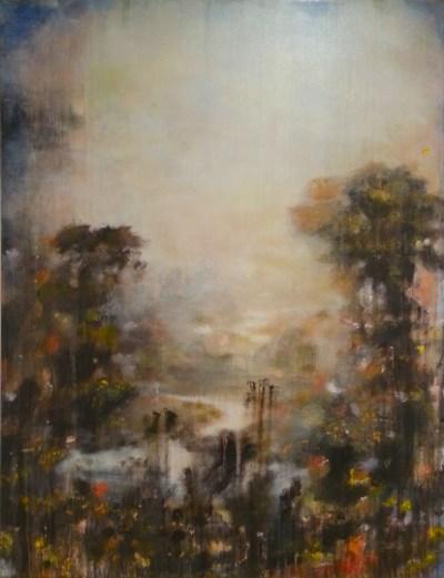 "Tom Leaver. ""Wait II,"" n.d. oil on canvas, 52 x 40 inches."