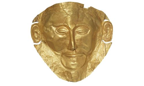 "Replica of the ""Mask of Agamemnon."" /Photo: Archaeological Museum of Mycenae."