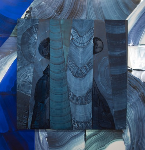 "Justin Witte. Detail of ""Zone and Zonen,"" 2013. Mylar, acrylic and oil on board, 48 x 48 inches"