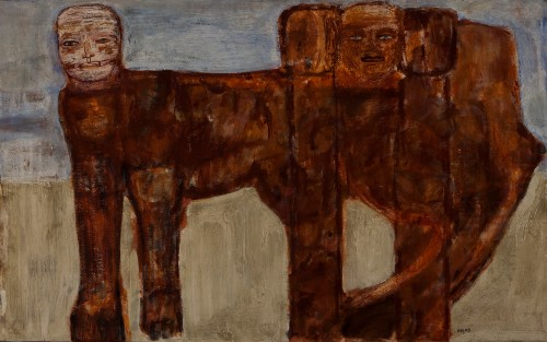 "Leon Golub. ""The Ischian Sphinx,"" 1956. Oil and lacquer on canvas. Collection of Ulrich and Harriet Meyer. Art © Estate of Leon Golub/Licensed by VAGA, New York."