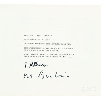 "Art & Language, ""Painting 1, No. 8,"" 1966. Verso of certificate, silver gelatin print"