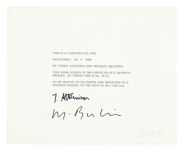 "Art & Language, ""Painting 1, No. 8,"" 1966. Verso of certificate, silver gelatin print"