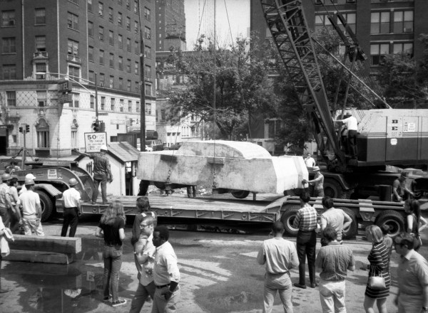 """Wolf Vostell's """"Concrete Traffic"""" being transported to the University of Chicago, June 1970. Collection Museum of Contemporary Art Chicago Library and Archives. /Photo: Jean-claude LeJeune"""