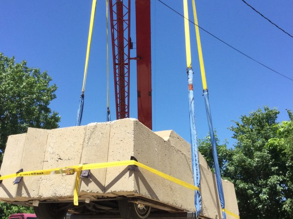 """Transferring """"Concrete Traffic"""" onto a new support structure, June 2016."""