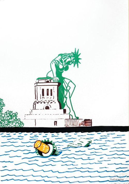 "Tom Torluemke, ""She's fed up, and she's stepping down,"" 2011. Acrylic paint marker on paper, 22 x 15 inches"