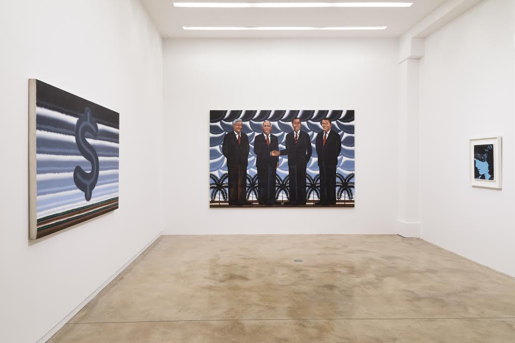 "Installation view of ""Roger Brown & Andy Warhol: Politics, Rhetoric, Pop,"" Fall 2016 at Kavi Gupta"