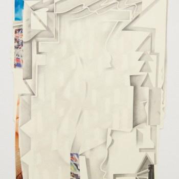 """Megan Greene, """"Unfortunate Sweater,"""" 2016. Collage, graphite 31 x 23 3/8 inches"""