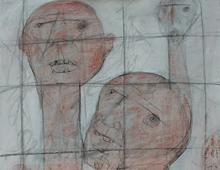 "detail of Warren Croce's painting ""Prisoners"""