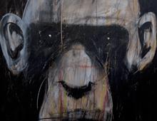 "detail of Warren Croce's painting ""Chimp #2"""