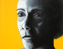 "detail of Warren Croce's painting ""Jackie"""