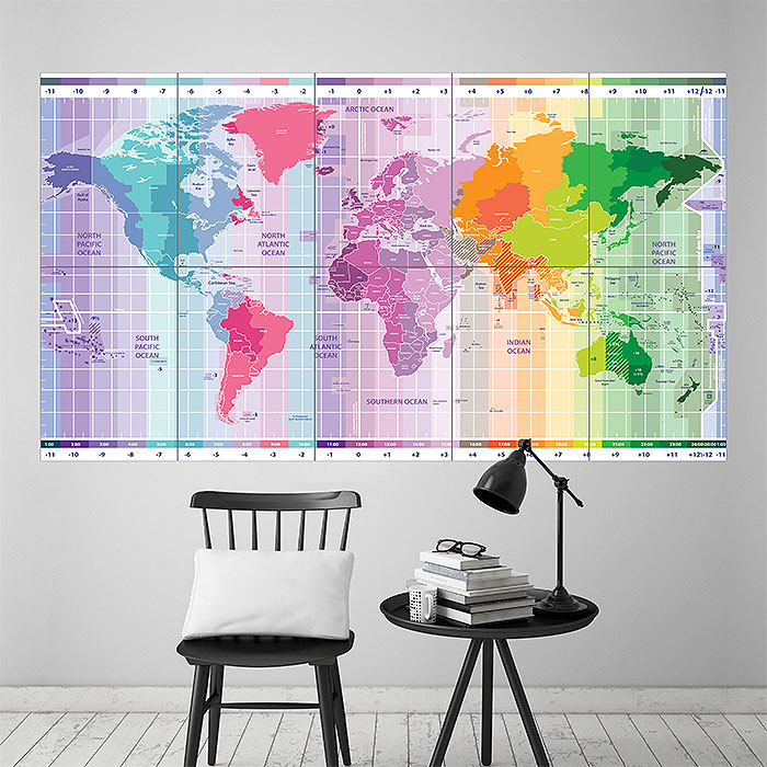 World Standard Time Zones Map Wand Kunstdruck Riesenposter