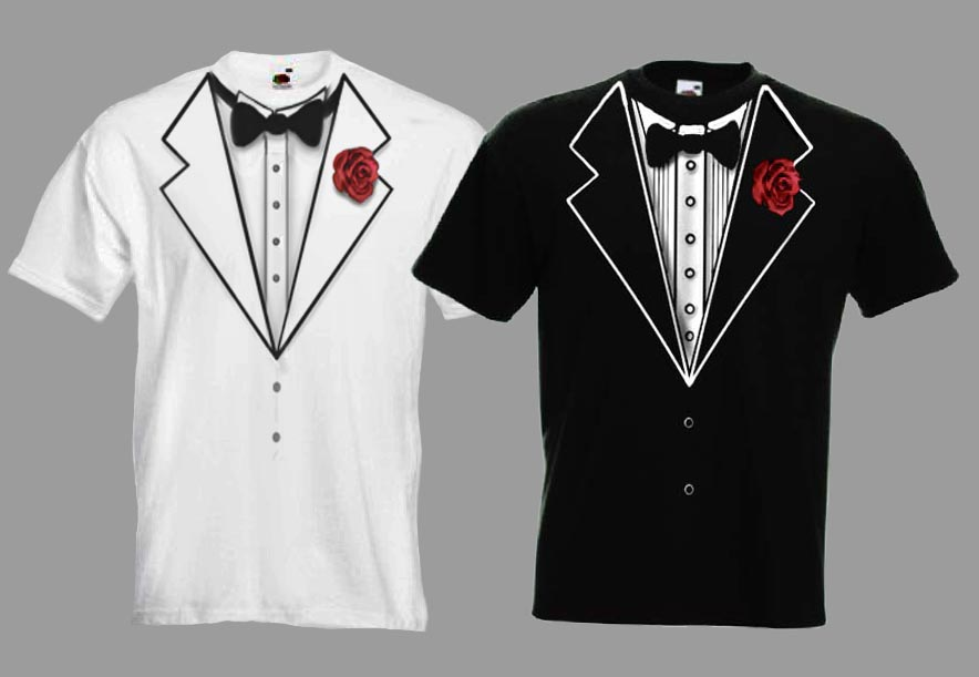 Tux Tuxedo Funny Wedding Fancy Dress Stag T-shirt