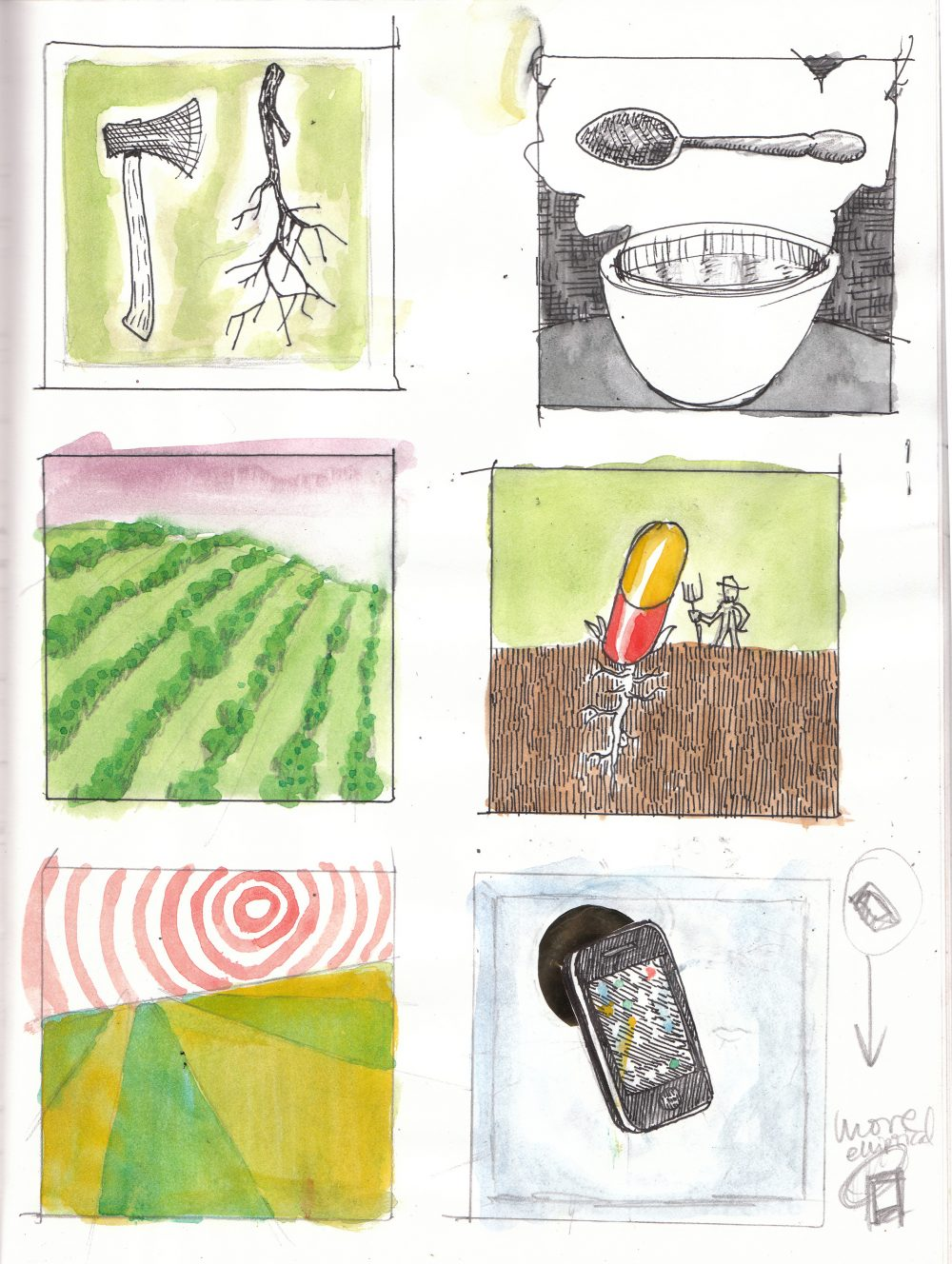 A 2 x 3 grid of square sketches with watercolor. The content of the sketches loosely relates to nature and technology, for example an ax and a smart phone.