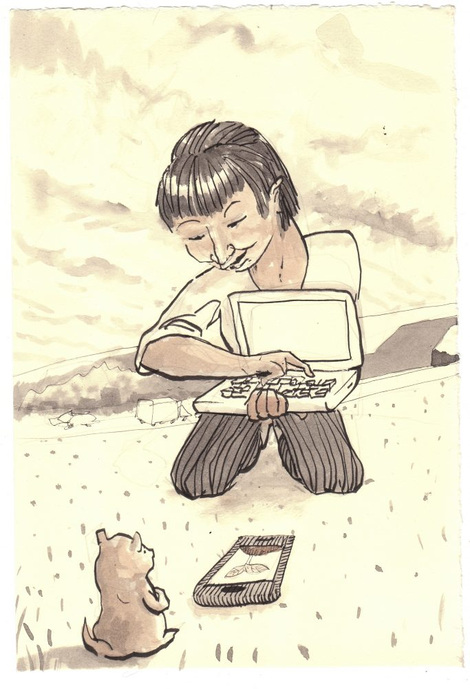 Ink drawing. In it a woman kneels with an open laptop and points out something on it to a groundhog seated before her.