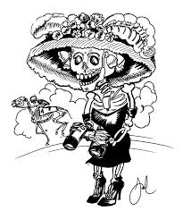A drawing by Jose Guadalupe Posada of a female skeleton. She wears high heeled boots, a dress, and a wide brimmed hat. She holds a pair of binoculars.