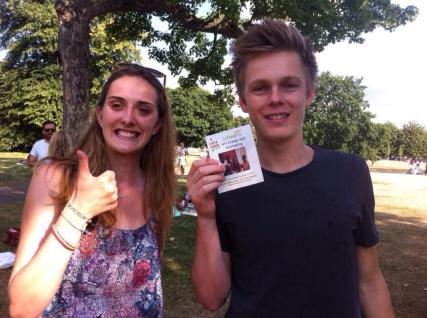 Casper Lee with Leonie supporting #Art4ChangeHaiti