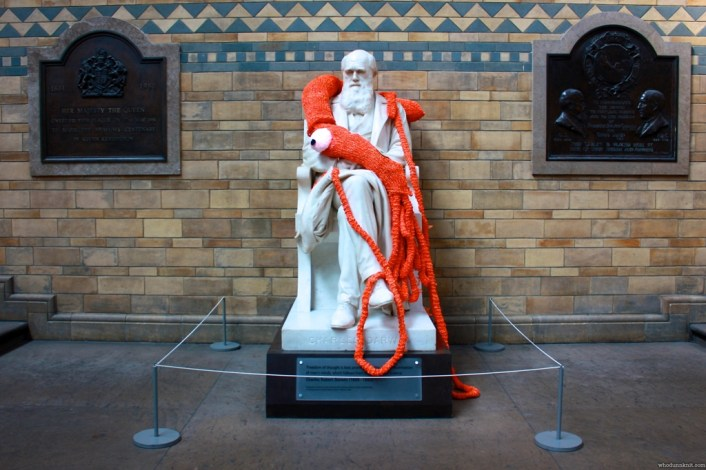 Plarchie the Knitted Giant Squid with Charles Darwin at the Natural History Museum, London (2011) by Deadly Knitshade