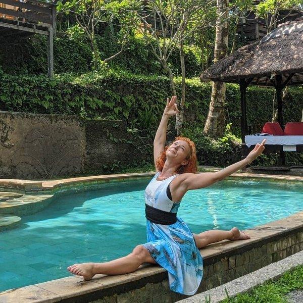 Flare dress. Aqua. Aldona Yoga