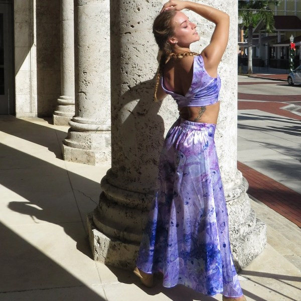 High Rise Satin Palazzo Pants. Happiness in pink