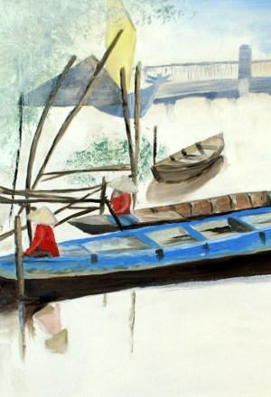 Pêcheurs à Hoi An vietnam artiste valérie Nouailhetas galerie art 52 royan