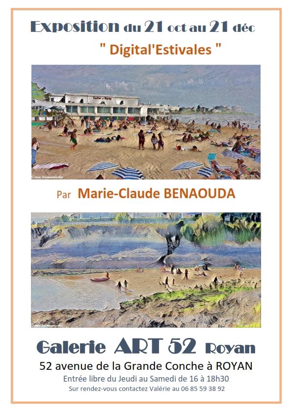 Exposition Marie-Claude BENAOUDA Galerie ART 52 ROYAN