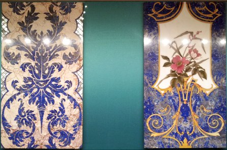 Ornate mosaics with lapis lazuli from 1881-82 (Museo dell'Opificio delle Pietre Dure, Florence)