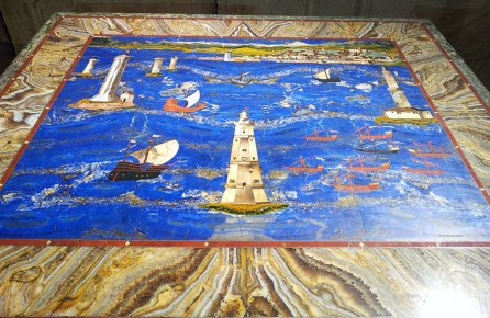 Grand ducal manufacture by Cristofano Gaffurri of a design by Jacopo Ligozzi, table top with a view of the port of Livorno, 1601-1604, semi-precious stone inlay, Florence, Uffizi Gallery
